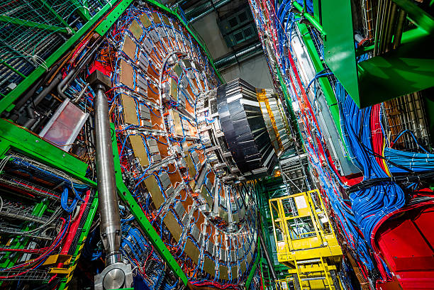 CMS Experiment Detector Muon Endcup Expriment Detector with Cables large hadron collider stock pictures, royalty-free photos & images