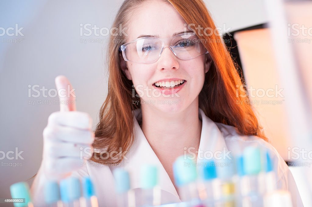 Experiment suceded! stock photo