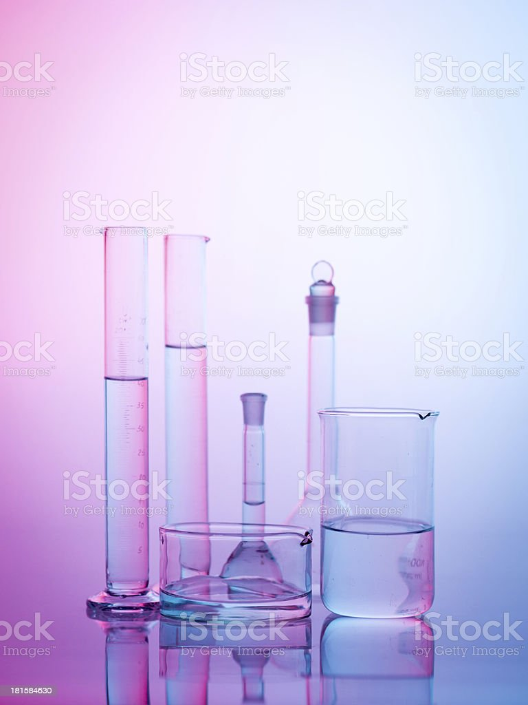 experimental glassware in the lab royalty-free stock photo