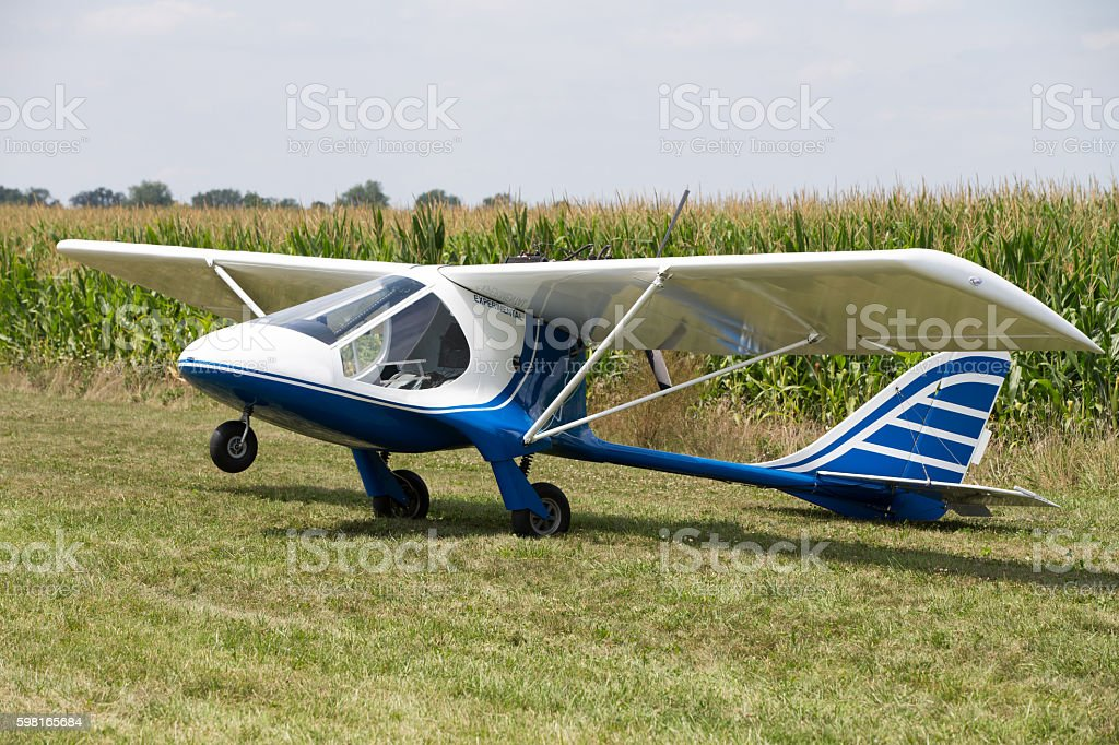Experimental plane in a field stock photo
