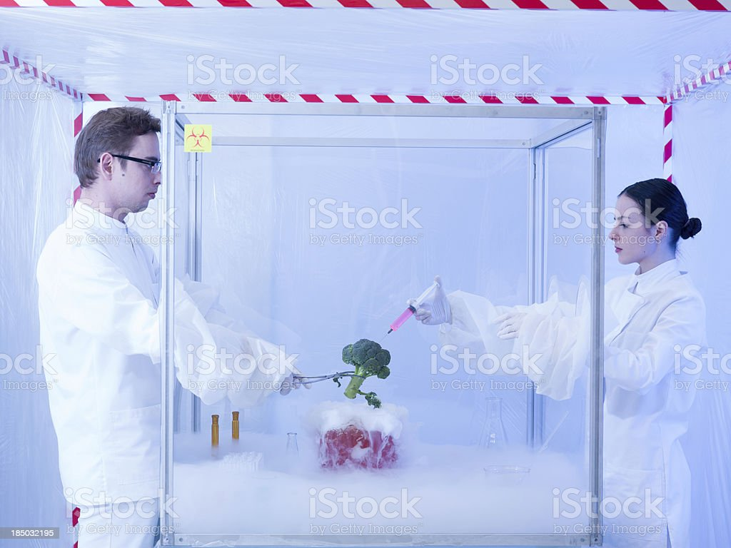 experimenting on vegetables with liquid nitrogen royalty-free stock photo