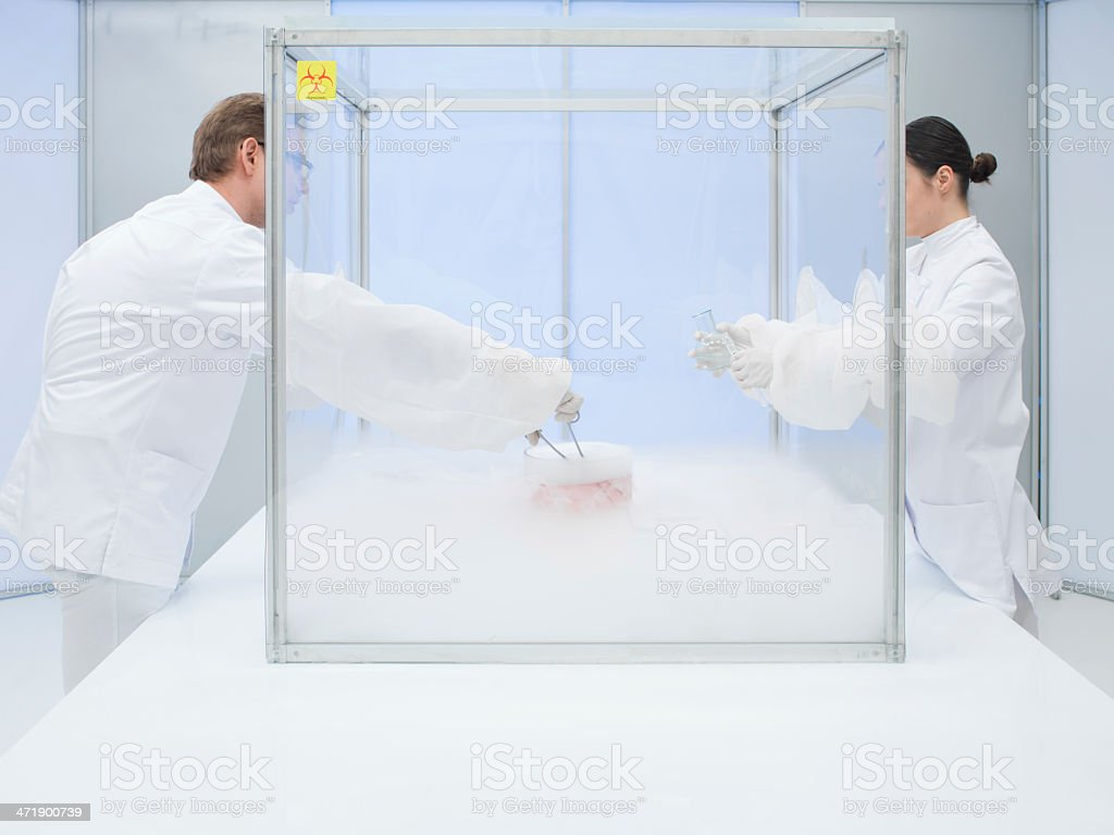 experimenting with liquid nitrogen in the lab royalty-free stock photo