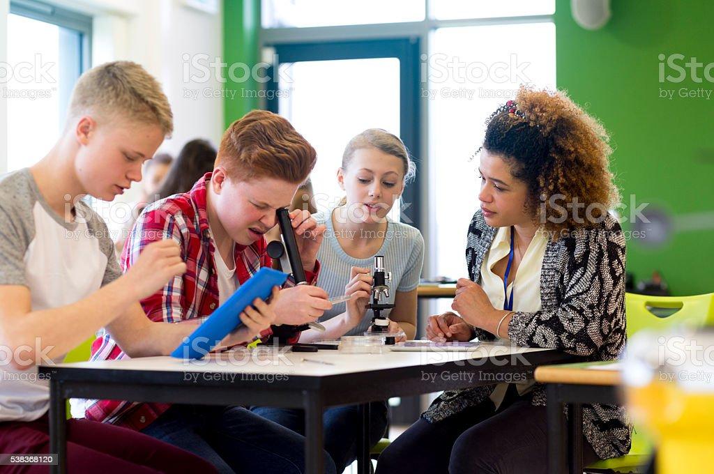 Experimentieren mit Mikroskope in einem Science-Unterricht - Lizenzfrei Akademisches Lernen Stock-Foto