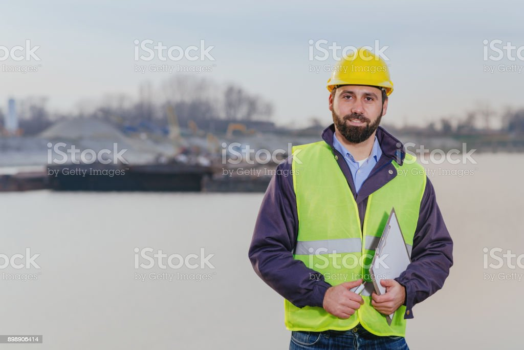 Expert engineer for canal networks and inland waterways stock photo