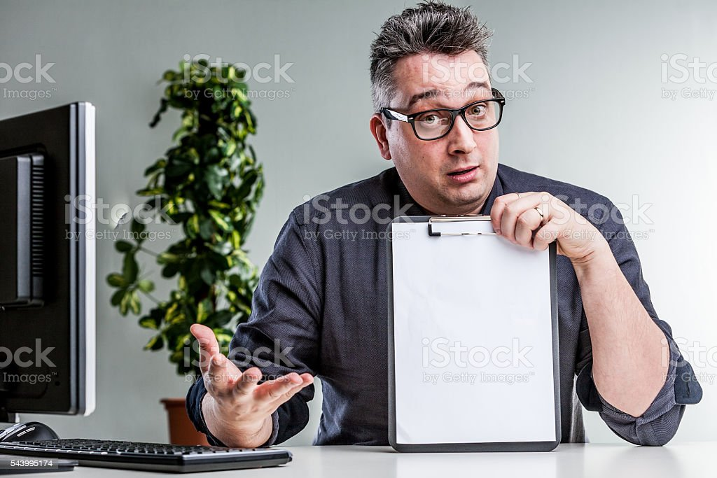 expert explaining and showing what's the problem stock photo