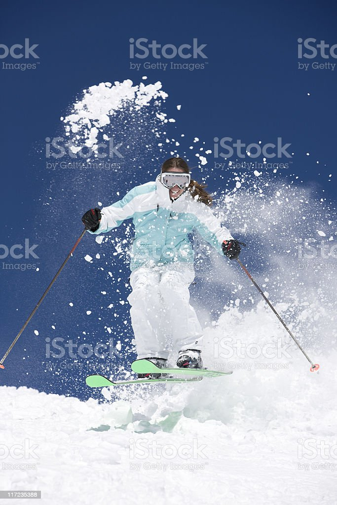 Expert Female Skier royalty-free stock photo