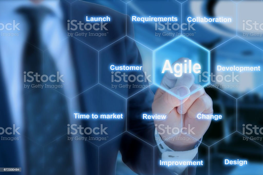 IT expert pressing a tile in an agile development keyword grid stock photo