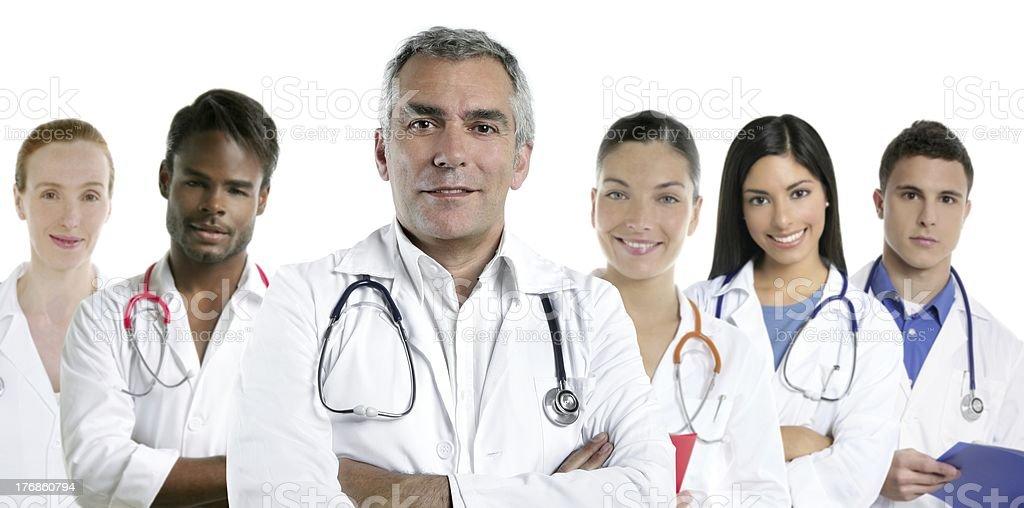 expertise doctor multiracial nurse team row royalty-free stock photo