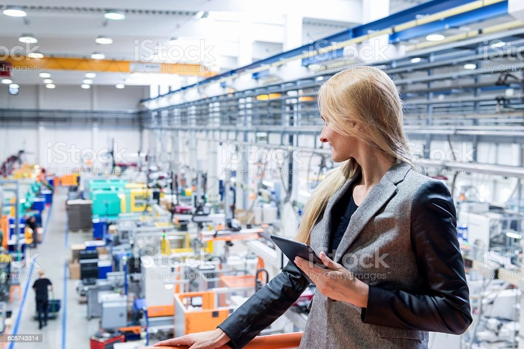 Expertise of modern factory stock photo