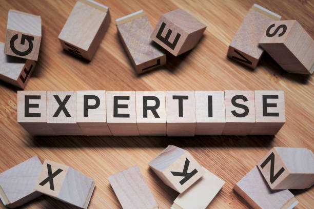 Expertise Word In Wooden Cube stock photo
