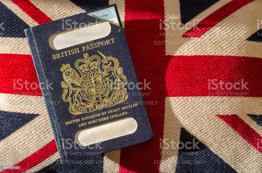 London, England - December 28, 2018:Expired British Passport with Blue Cover 28 Dec 2017 stock photo