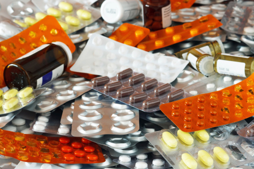 Expired medications collected by the pharmacy for disposal