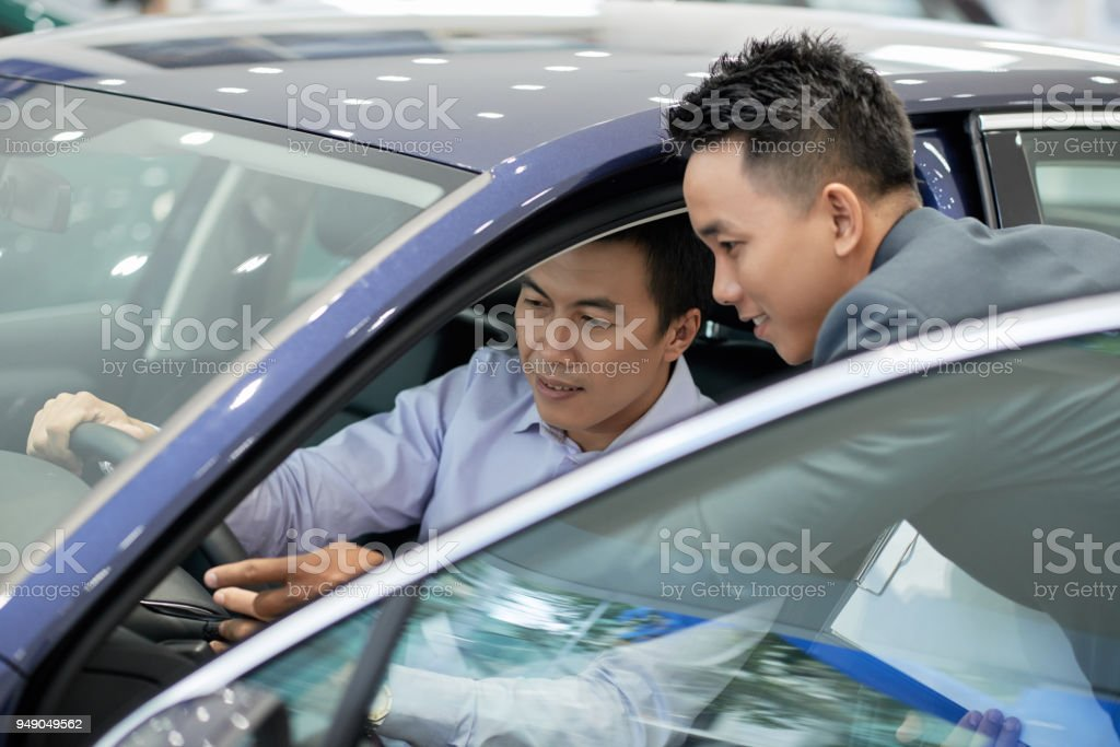 Explaining car characteristic stock photo