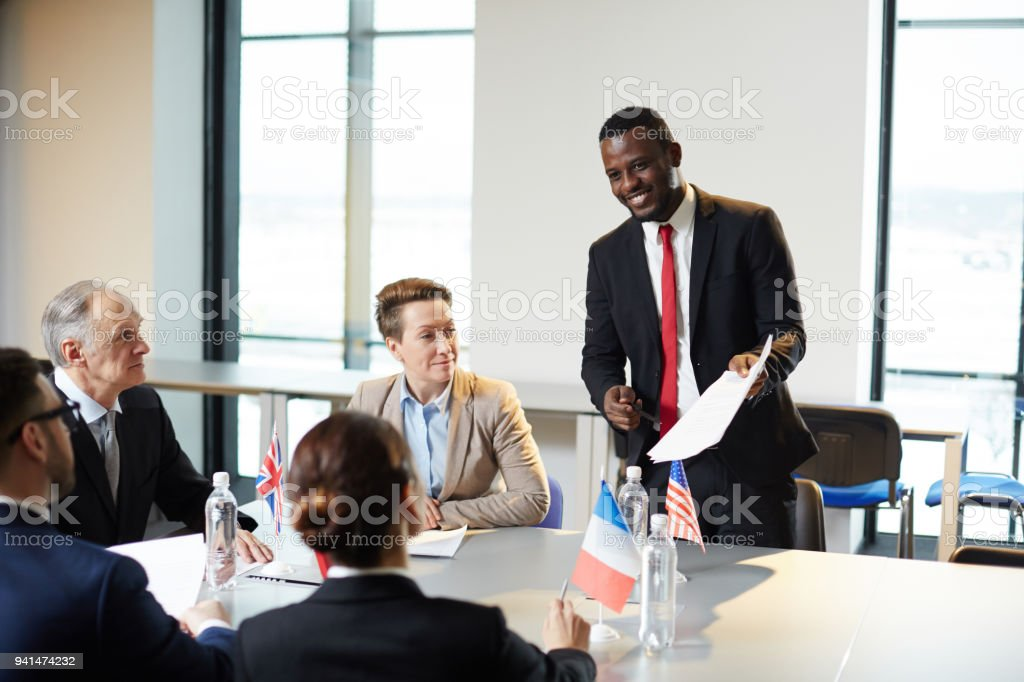 Explaining contract points stock photo