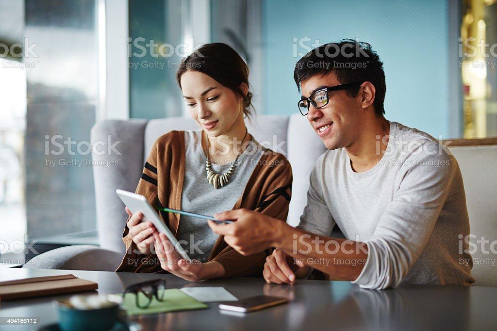 Explaining data stock photo