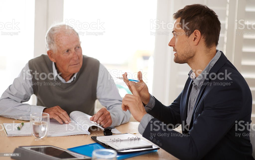 Explaining his options regarding the deal stock photo