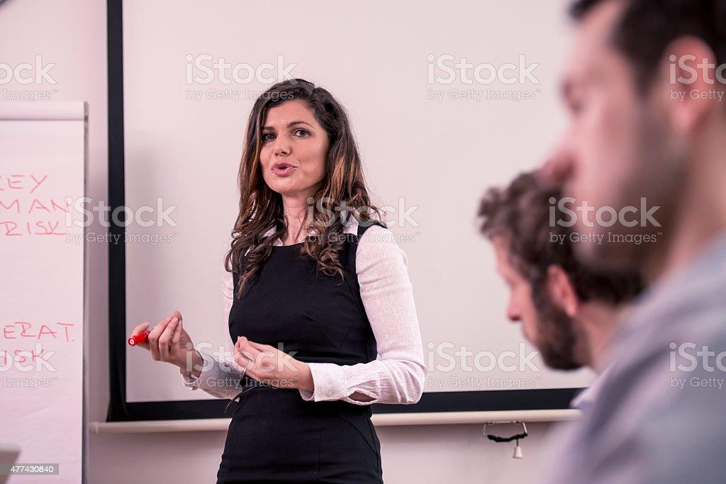 Explaining New Strategy stock photo