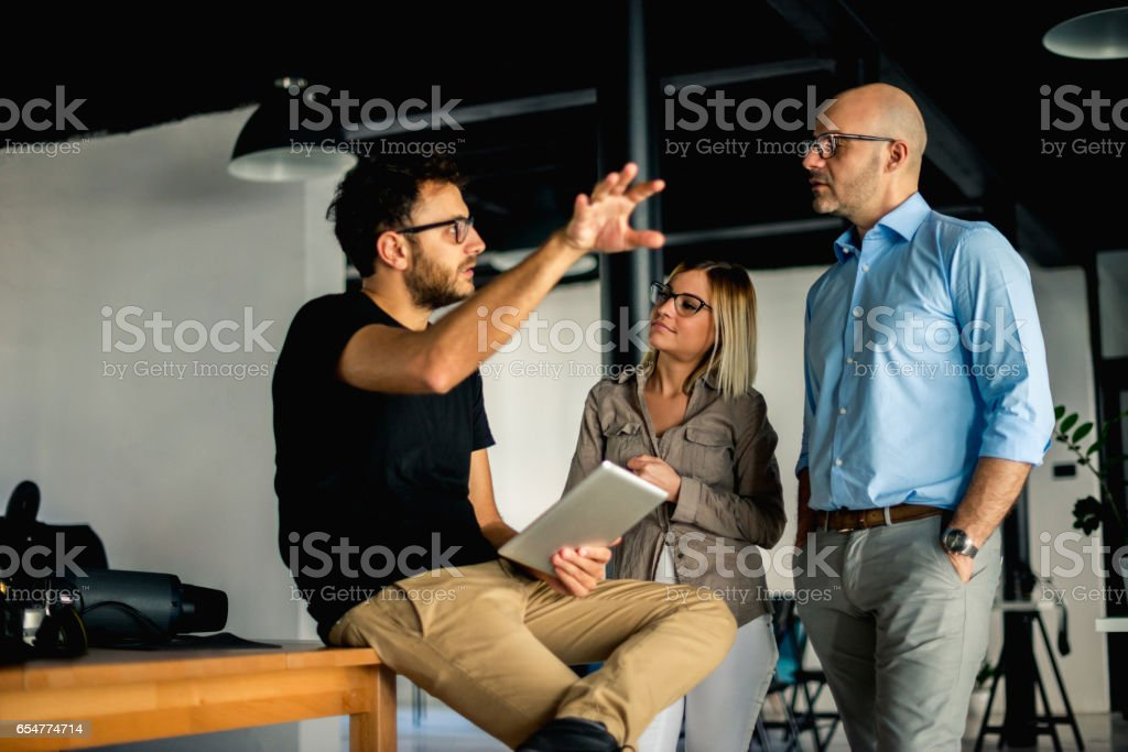 Explaining next business moves stock photo