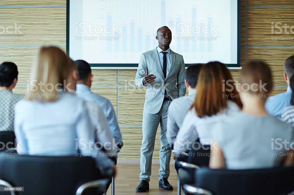 Explaining project stock photo