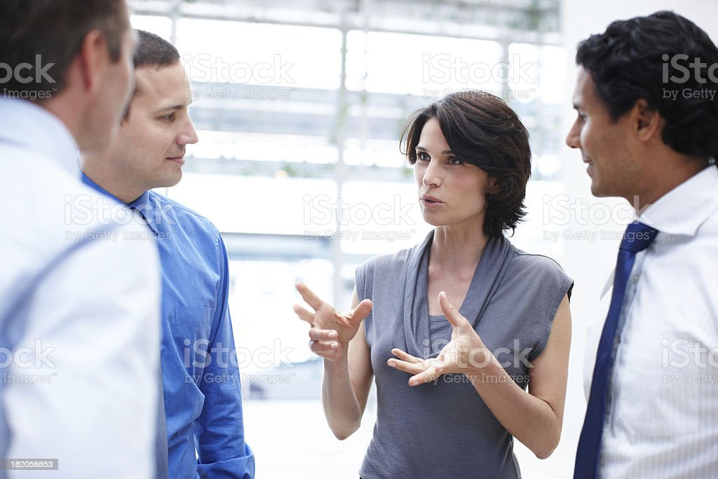 Explaining some smart business tactics stock photo
