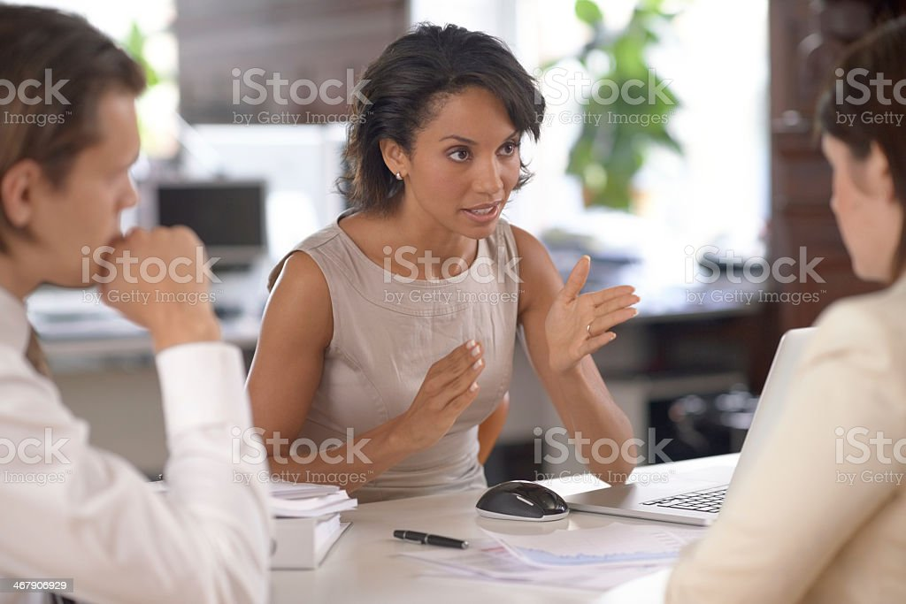 Explaining the important aspects stock photo