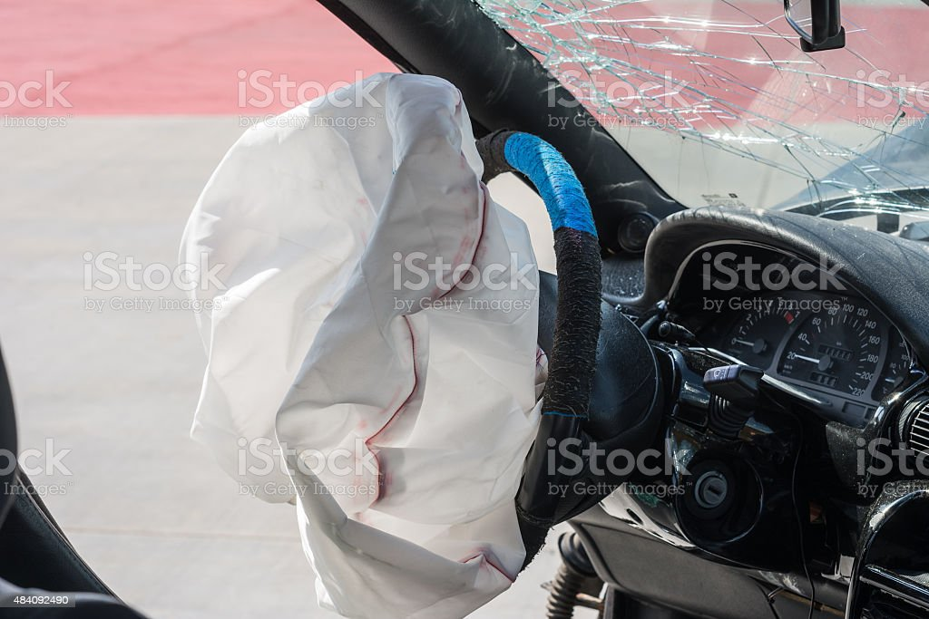 Exploded airbag stock photo