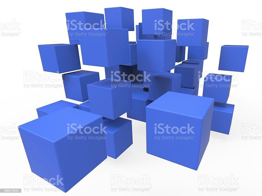 Exploded Blocks Showing Unorganized Puzzle stock photo
