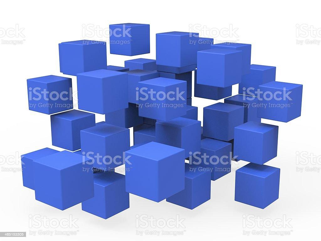 Exploded Blocks Shows Unorganized Puzzle stock photo