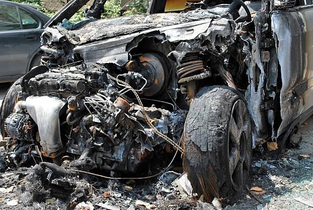 Exploded car bomb stock photo