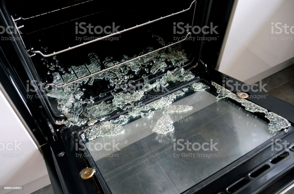 Exploded Inner Glass In Oven Door Royalty Free Stock Photo
