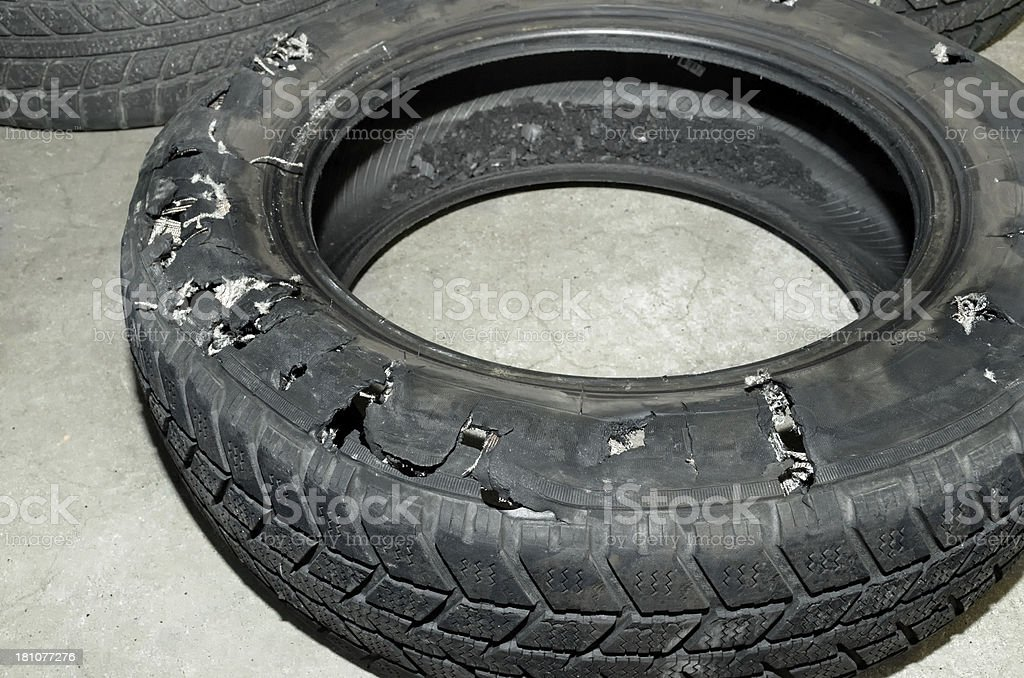 exploded tire of passenger car royalty-free stock photo