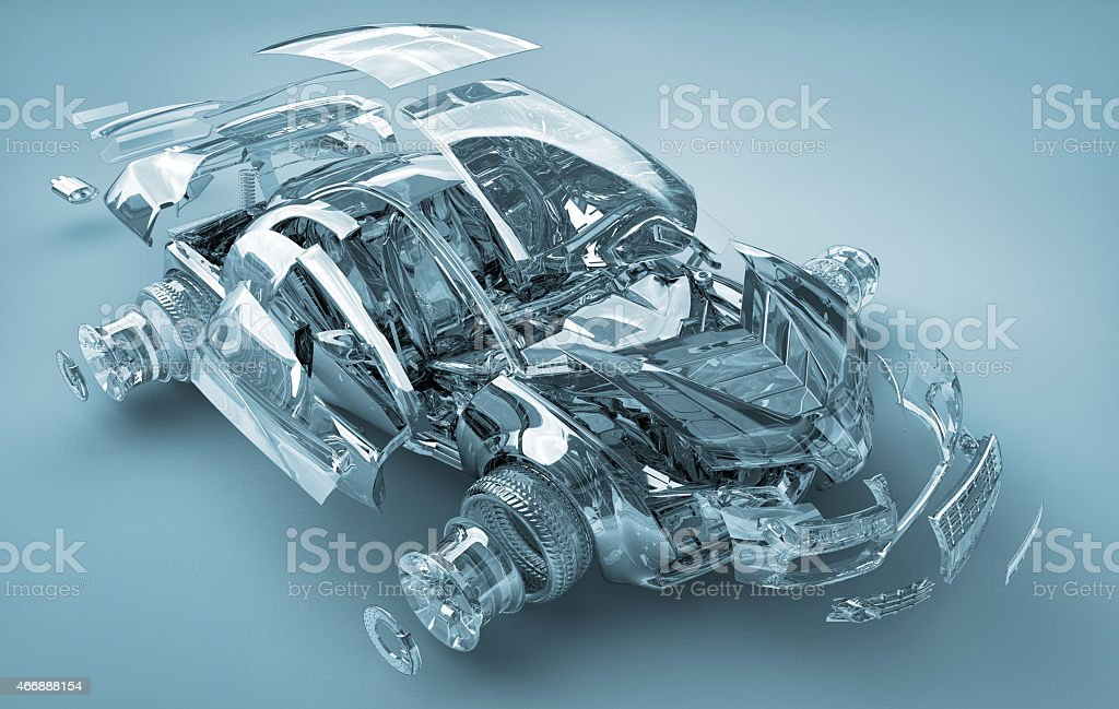 exploded transparent car stock photo