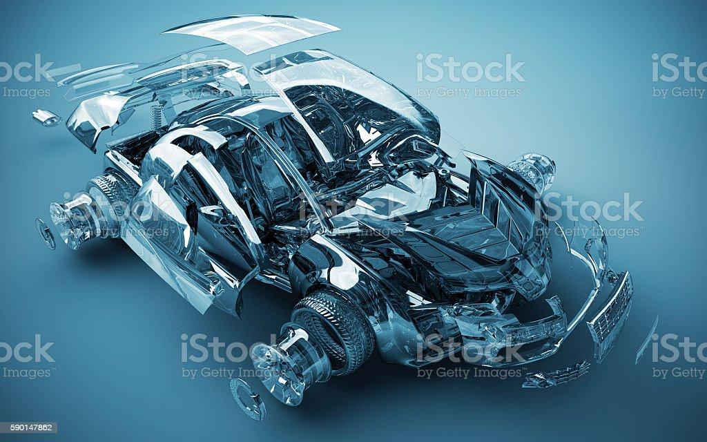 exploded transparent car stock photo