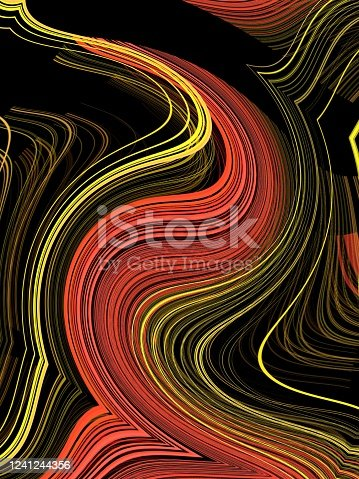 istock exploding 2D surface view with Linear stripes of bright red yellow and black colors into many diverse geometric shapes patterns and unique designs with diminishing perspective 1241244356