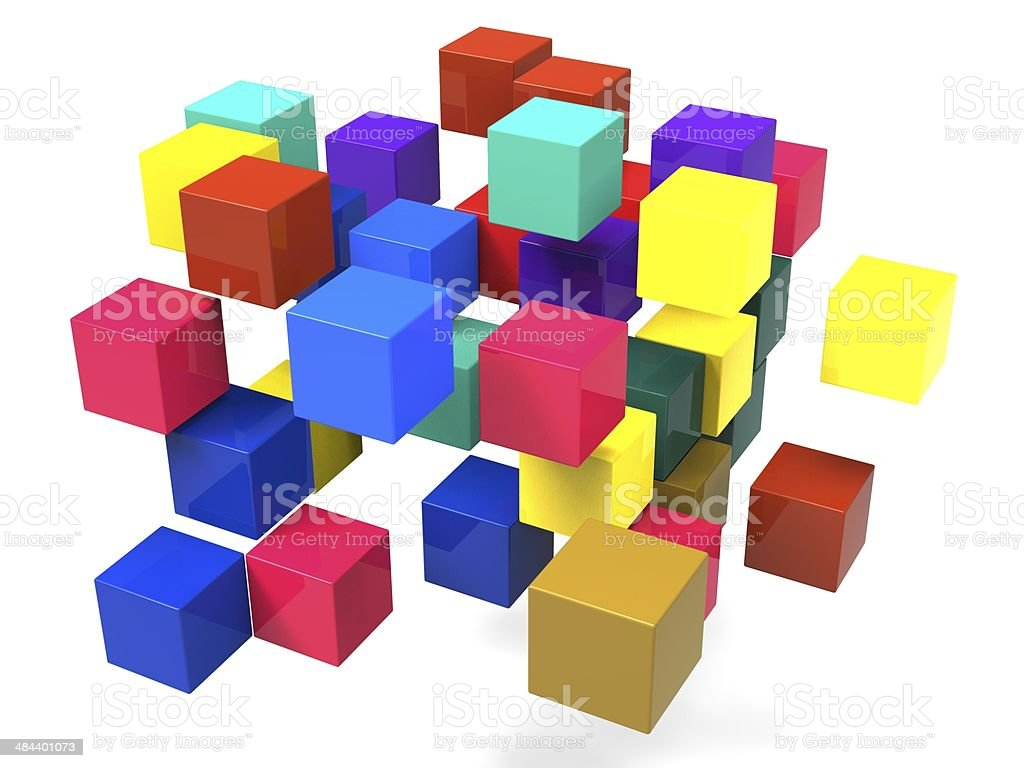 Exploding Blocks Shows Scattered Puzzle stock photo