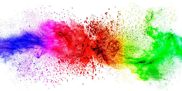 exploding colorful abstract background - abstract multicolored powder explosion stock photos and pictures