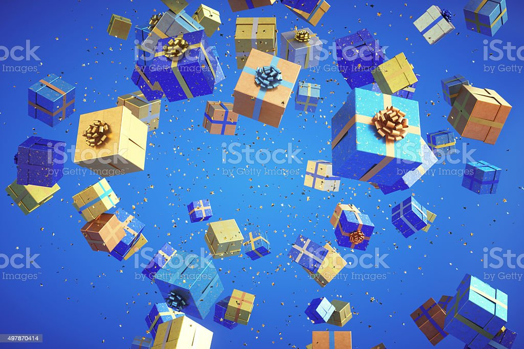 Exploding colorful gifts with confetti stock photo