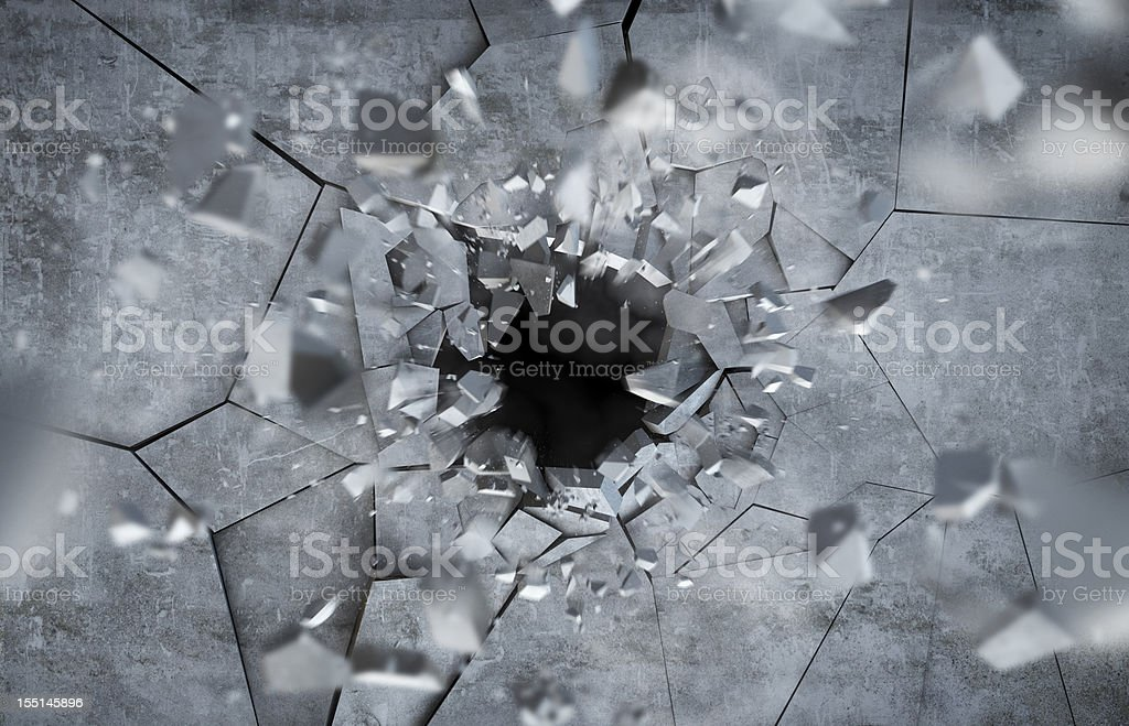 Exploding concrete Wall stock photo