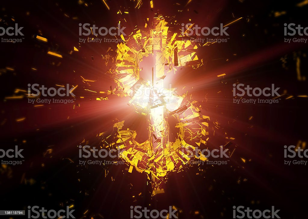 Exploding dollar royalty-free stock photo