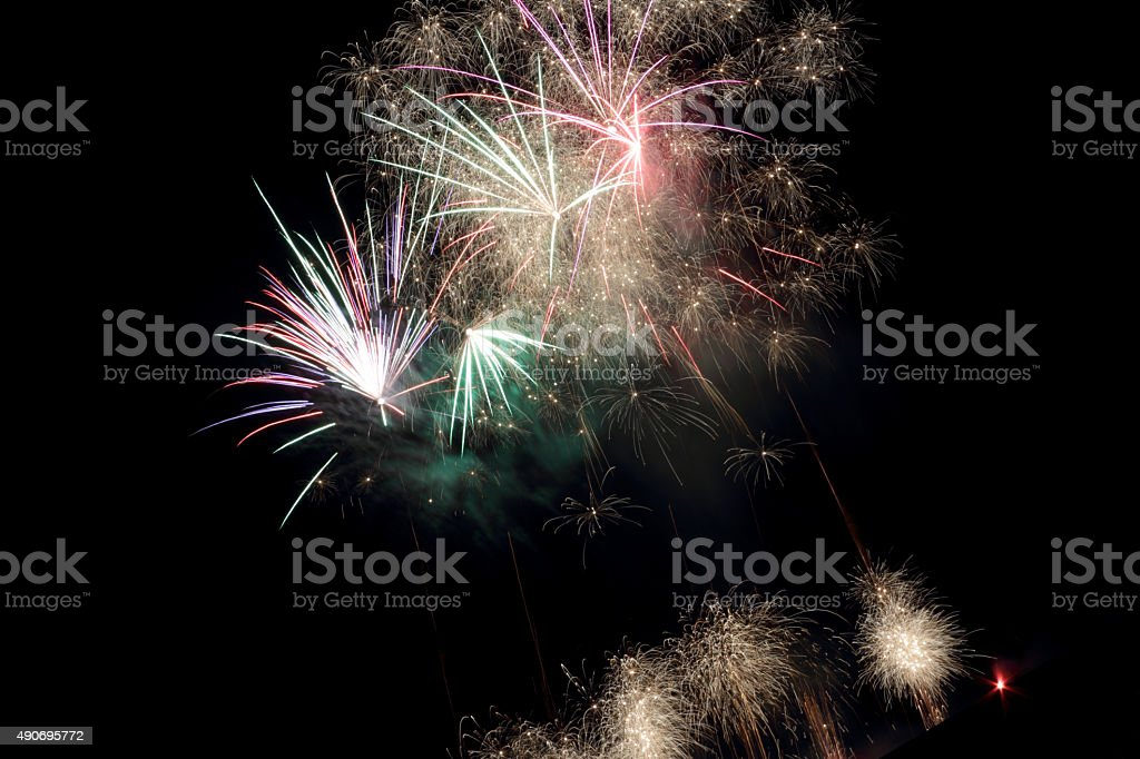 exploding firework stock photo