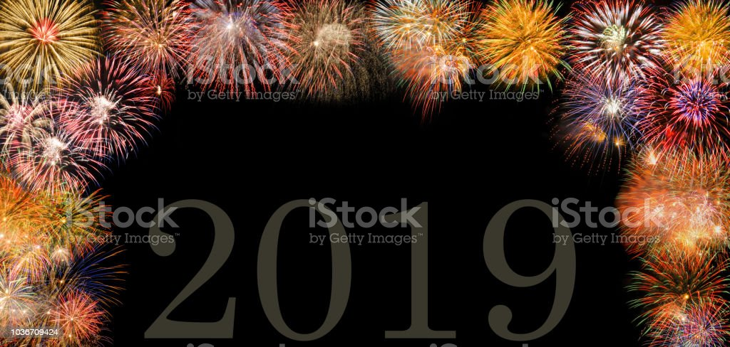exploding fireworks at new year`s eve 2019