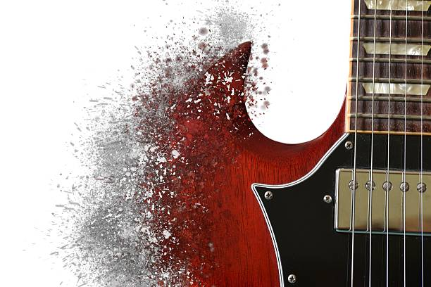 exploding guitar - broken guitar stock photos and pictures