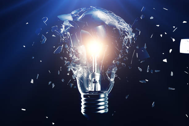 exploding light bulb on a blue background, with concept creative thinking and innovative solutions. 3d rendering - genius stock photos and pictures