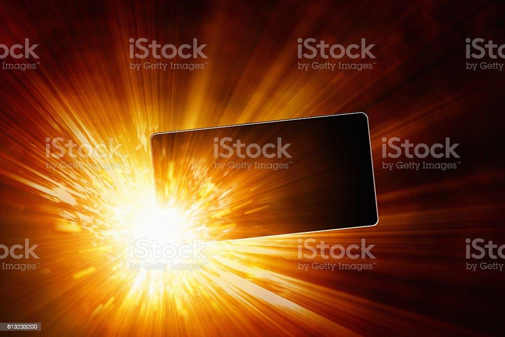 Exploding mobile phone, overheating battery cells, smartphone ba bildbanksfoto