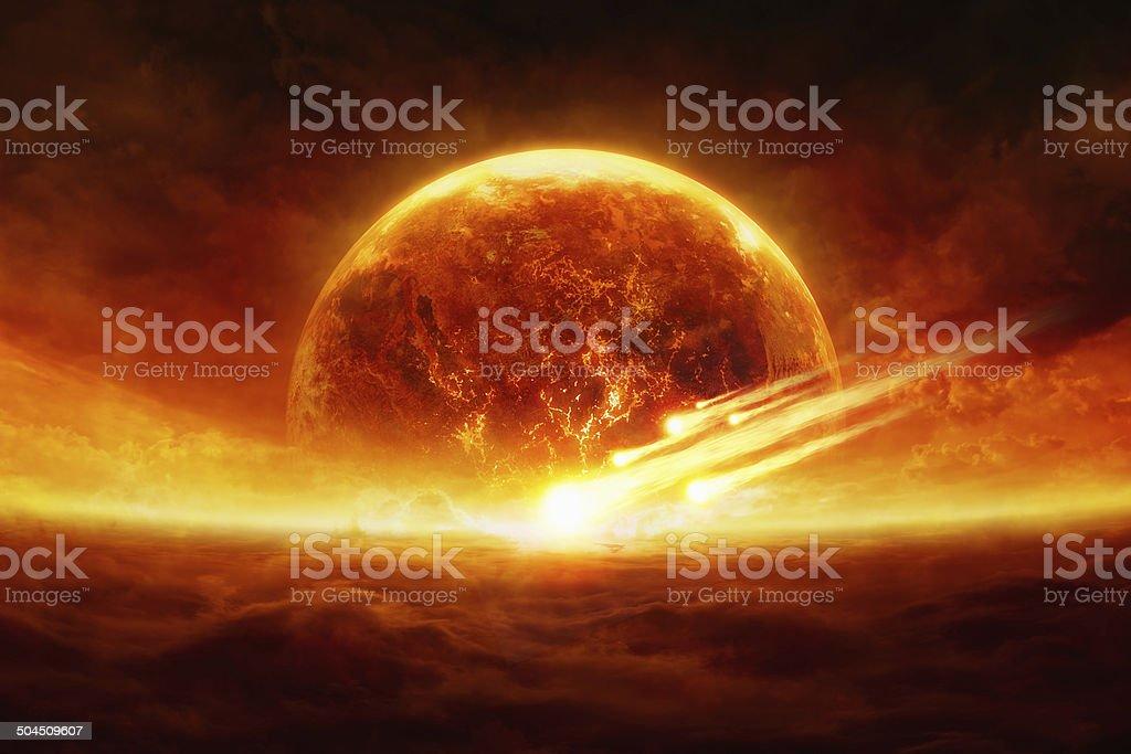 Explotando planeta - foto de stock