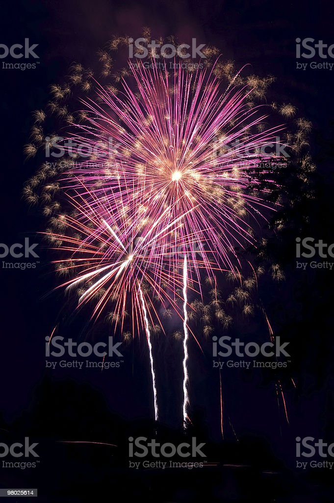 Exploding purple rockets royalty-free stock photo