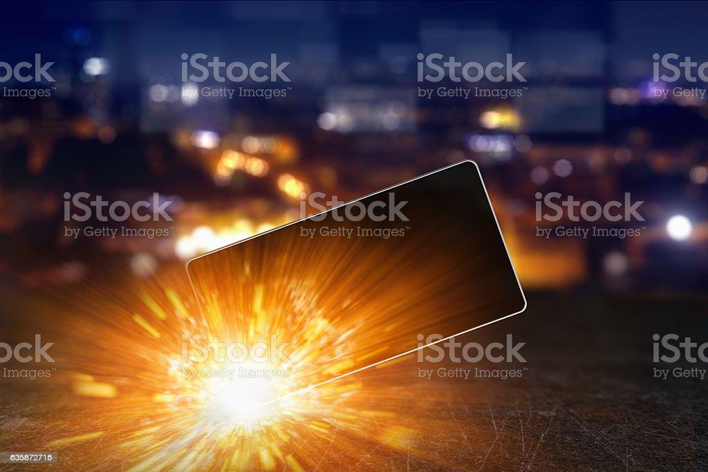 Exploding smartphone, overheating battery cells bildbanksfoto
