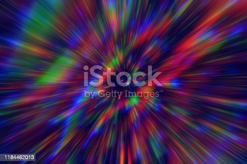 Abstract Rainbow Exploding Speed Flash Prism Holographic Light Beams Pattern Background Motion Optical Illusion Retro Style Digitally Generated Image Distorted Fractal Fine Art