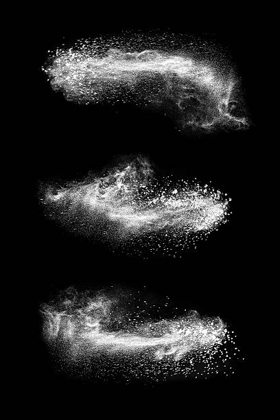 Exploding white powder Abstract exploding white powder isolated on black background. powder snow stock pictures, royalty-free photos & images