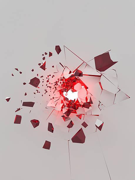 explosion de mur blanc avec des pièces rouges - imploser photos et images de collection